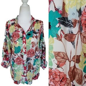Alice + Olivia | Silk Floral Blouse 3/4 Sleeves S